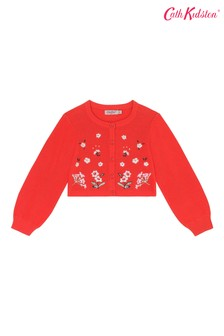 Cath Kidston® Red Embroidered Cardigan