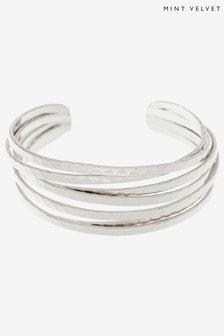 Mint Velvet Silver Stacked Bangle Bracelet