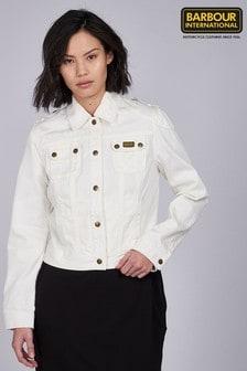 Barbour® International White Denim Durness Biker Jacket