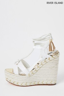 River Island White Tie Up Wedges