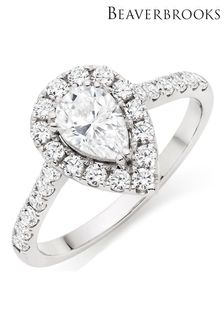 Beaverbrooks 9ct Cubic Zirconia Pear Halo Ring