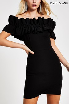 River Island Black Ashton Ruffle Bardot Bodycon Dress