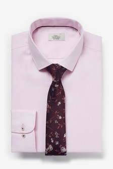 Cotton Shirt And Tie Set