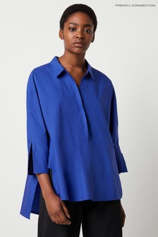 French Connection Blue Aoko Rhodes Poplin Popover Shirt