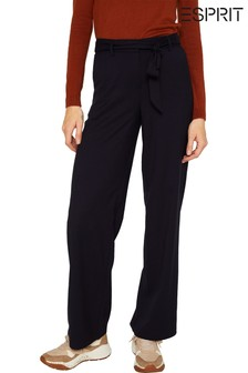 Esprit Blue High Waist Trousers With Wide Legs