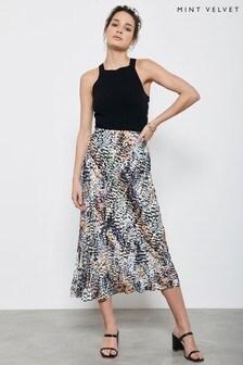 Mint Velvet Natural Harley Print Midi Slip Skirt