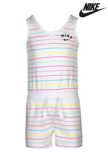 Nike Little Kids White Candy Striped Playsuit