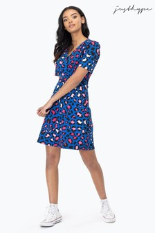 Hype. Blue Contrast Leopard Tea Dress