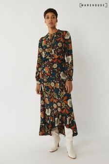 Warehouse Black Retro Floral Tiered Maxi Dress