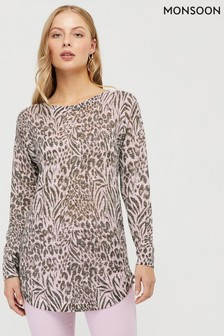 Monsoon Natural Animal Print Linen Blend Jumper