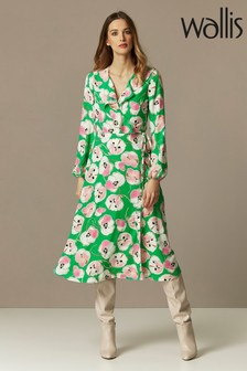 Wallis Green Abstract Poppy Midi Dress