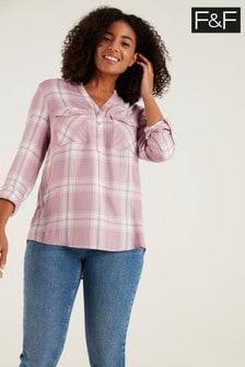 F&F Pink Collarless Check Shirt