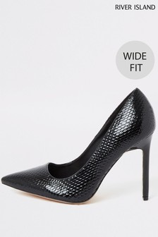 River Island Black Wide Fit Square Thraot Court Shoes