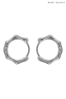 Mint Velvet Silver Tone Molten Huggie Earrings