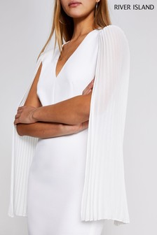 River Island White Demi Pleat Sleeve Bodycon Dress