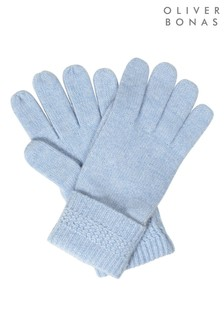 Oliver Bonas Cashmere Mix Blue Knitted Gloves