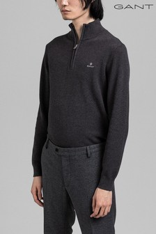 GANT Cotton Half Zip Pique Top