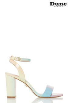 Dune London Motion Multi Patent Synthetic Ombre Pastel Block Heel Sandals