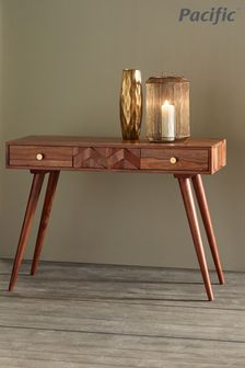 Pacific Sheesham Wood Honeycomb Design Console Table