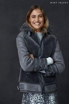 Mint Velvet Grey Smoke Faux Fur Mix Easy Aviator Jacket