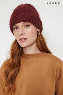 Warehouse Purple Eyelash Yarn Beanie Hat