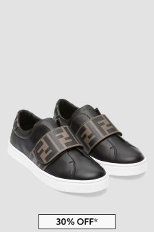 Kids Black Leather Logo Trainers