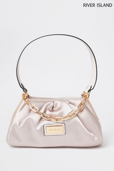 River Island Pink Ruched Satin Bag