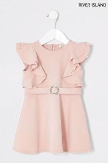 River Island Kleid mit Rüschenärmeln, rosa