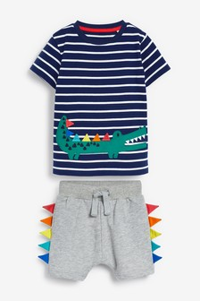 Crocodile Appliqué T-Shirt And Spike Shorts Set (3mths-7yrs)