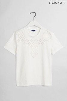 GANT White Desert Jewel Embroidery T-Shirt