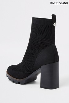 River Island Black Knitted Chunky Boots