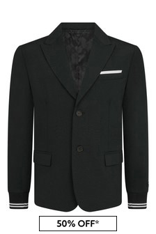 Boys Black Logo Blazer