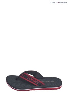 Tommy Hilfiger Blue Embossed Footbed Flip Flops