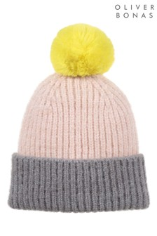 Oliver Bonas Colourblock Yellow Pom Knitted Hat