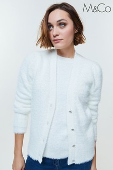 M&Co White Jewel Button Fluffy Cardigan