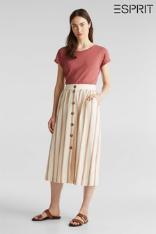 Esprit Orange Striped Linen Knitted Skirt With Buttons