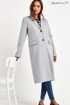 GANT Womens Grey Double Faced Wool Coat