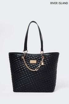 River Island Black Woven Chain Shopper Bag