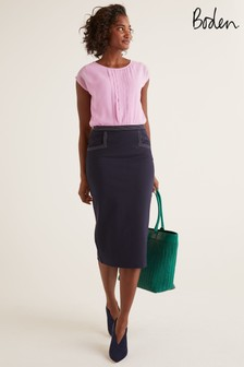 Boden Blue Sedley Topstitch Pencil Skirt