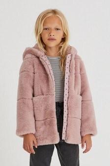 Zip Through Faux Fur Jacket (3-16yrs)