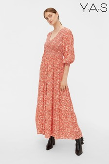 Y.A.S Red Floral Damask Maxi Dress