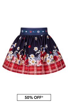 Monnalisa Baby Girls Navy/Red Floral Skirt
