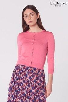 L.K.Bennett Pink Bonnie Merino Wool Cardigan
