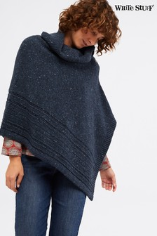 White Stuff Blue Split Neck Fleck Poncho