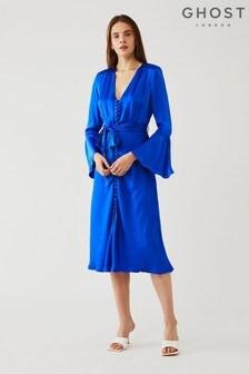 Ghost Blue Annabelle Filament Satin Dress