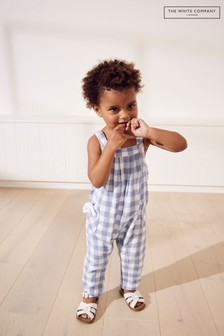 The White Company Blue Gingham Dungarees With Toy