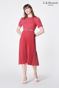 L.K.Bennett Pink Avalon Pleated Dress