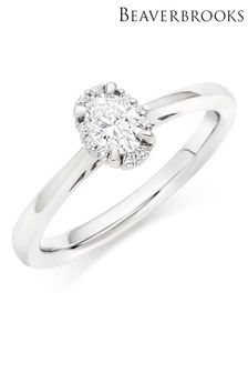 Beaverbrooks 18ct Diamond Oval Shaped Halo Ring