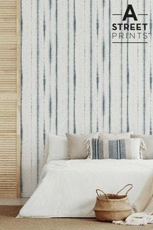 A Street Teal Orleans Stripe Wallpaper