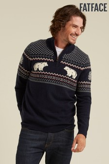 FatFace Blue Polar Bear Half Neck Jumper